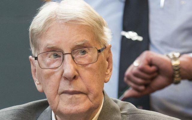 In this June 17, 2016 file photo, former SS sergeant Reinhold Hanning, who served as a guard at Auschwitz, sits in the courtroom in Detmold, Germany. (Bernd Thissen/Pool Photo via AP)