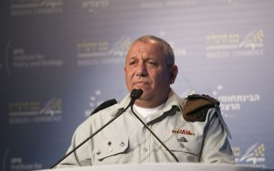 IDF Chief of Staff Gadi Eisenkot speaks at the Herzliya Conference in the Israeli coastal city on June 20, 2017. (Hagai Fried/Herzliya Conference)
