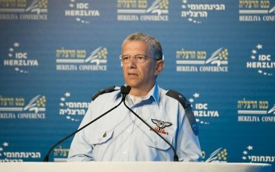 Israeli Air Force commander Maj. Gen. Amir Eshel speaks at the Herzliya Conference in Herzliya, June 21, 2017. (Courtesy/Herzliya Conference)