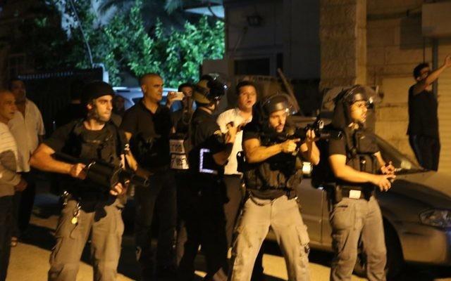 Police forces in Qafr Kassem on June 6, 2017  (Courtesy)