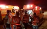 Medics at the scene of a stabbing near the Elyakim Junction in northern Israel on Saturday night, June 25,  2017 (United Hatzalah)