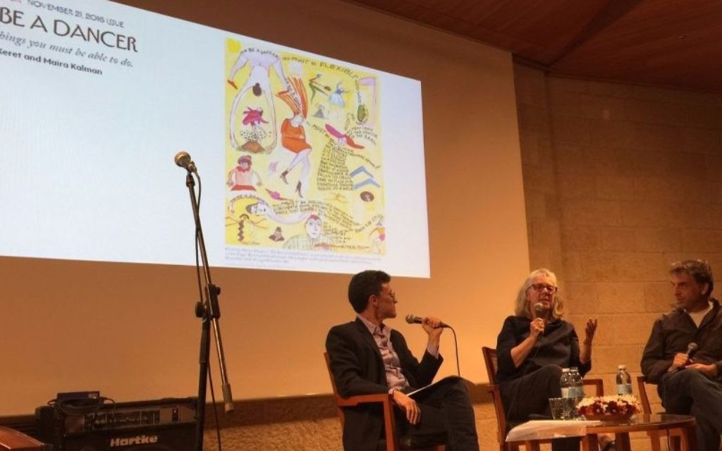 Moderator Evan Fallenberg (left) skillfully guided an hour-long conversation with writer and illustrator Maira Kalman and writer Etgar Keret on Tuesday night, June 6 at Jerusalem's Mishkenot Sha'ananim (Jessica Steinberg/Times of Israel)