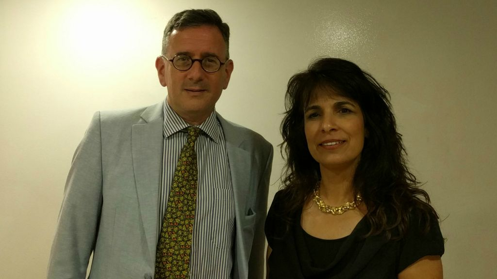 Nitsana Darshan-Leitner backstage with Mathew Kalman at the latest event in The Times of Israel Presents series, June 4, 2017. (Yaakov Schwartz/Times of Israel)