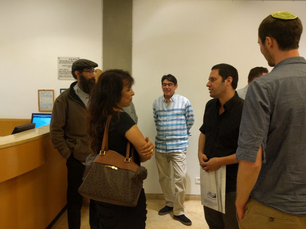 Nitsana Darshan-Leitner speaking with audience members after her discussion on June 4, 2017. (Yaakov Schwartz/Times of Israel)