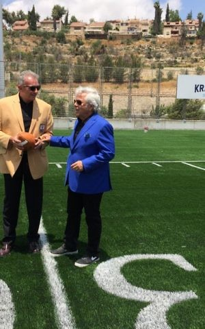 Joe Montana and Robert Kraft at the newly inaugurated Kraft Family Sports Campus in Jerusalem (Jessica Steinberg/Times of Israel)
