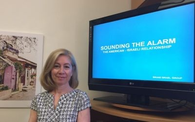 Fern Oppenheim, the co-founder of Brand Israel Group, presents a recent report, 'Sounding the Alarm: The American-Israeli Relationship,' June 20, 2017. (Amanda Borschel-Dan/Times of Israel)