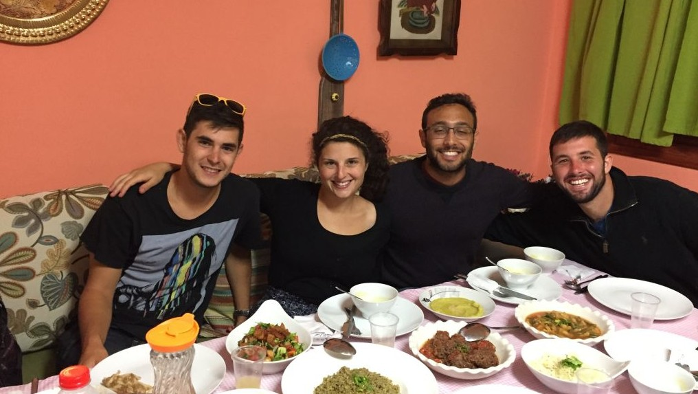 New Israel Fund fellows get ready to break the Ramadan fast in Umm Al-Fahm on June 22, 2017, during a Ramadan Nights tour. (Amanda Borschel-Dan/Times of Israel)