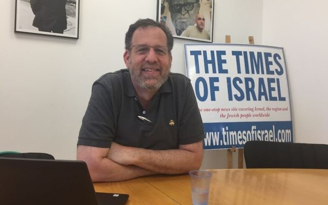 Brandeis University Prof. Len Saxe at The Times of Israel's Jerusalem office on June 25, 2017. (Amanda Borschel-Dan/The Times of Israel)