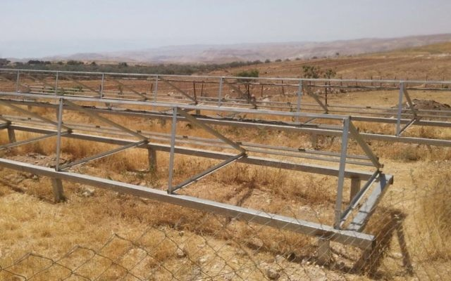The remains of solar panels in the Palestinian village of Jubbet al-Dhib after they were dismantled by Israeli authorities on June 28, 2017. (Ta'ayush, courtesy)