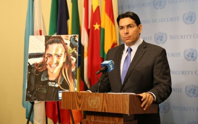 Ambassador to the UN Danny Danon speaks next to a picture of slain Border Police officer Hadas Malka at the United Nations on June 29, 2017. (Courtesy)