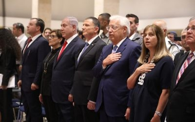 Prime Minister Benjamin Netanyahu (3rd from left), Knesset Speaker Yuli Edelstein (4th from left) and US Ambassador to Israel David Freidman (5th from left) stand for the national anthem at a joint Knesset-Congress event marking 50 years since the reunification of Jerusalem on June 7, 2017 (Yitzhak Harari/Knesset press office)