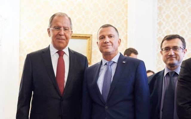 Russian Foreign Minister Sergey Lavrov meets with Knesset Speaker Yuli Edelstein in Moscow on June 29, 2017 (Israeli embassy in Moscow)