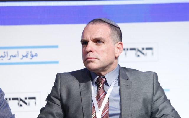 Oded Revivi, the chief foreign envoy of the pro-settlements Yesha Council, at the Haaretz Peace Conference in Tel Aviv, June 12, 2017 (Tomer Appelbaum)