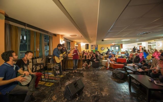An open jam session at the Abraham Hostel Jerusalem. (Courtesy)