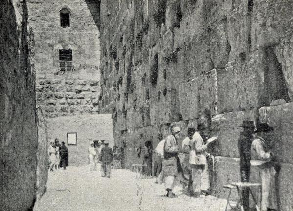 Jews at the Western Wall circa 1900 (Ottoman Empire Archives/via Israel Daily Picture)