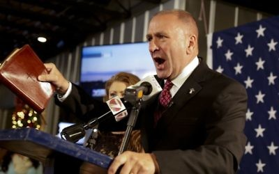 Republican congressman Clay Higgins addresses supporters after his victory in Louisiana's 3rd congressional district run-off election in Lake Charles, Louisiana, December 10, 2016. (Lee Celano/The Daily Advertiser via AP)