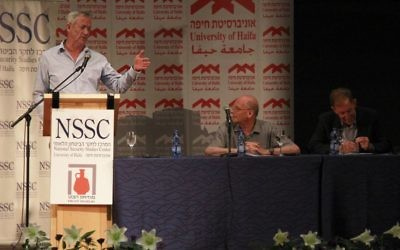 Former IDF chief of staff Benny Gantz speaks at a conference at Haifa University on June 5, 2017. (Judah Ari Gross/Times of Israel)