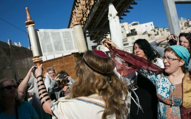 Illustrative image of Women of the Wall group praying at the women's section of the Western Wall, Sunday, June 25, 2017. (Michal Fattal/Courtesy Women of the Wall)