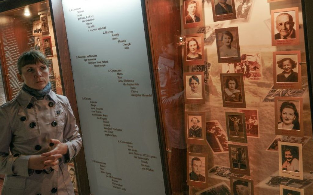 Marina Yarashuk, director of the Museum of Jewish Resistance of Novogrudak, at the museum on June 1, 2017. (Cnaan Liphshiz/JTA)