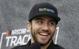 Israeli driver Alon Day smiles during an interview prior to racing in the NASCAR Sprint Cup Series auto race, June 25, 2017, in Sonoma, California (AP Photo/Ben Margot)