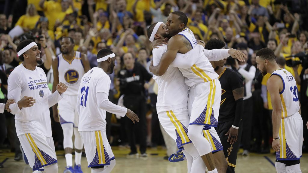 d88887154b31 Golden State Warriors players celebrate after beating the Cleveland  Cavaliers in Game 5 of basketball s NBA