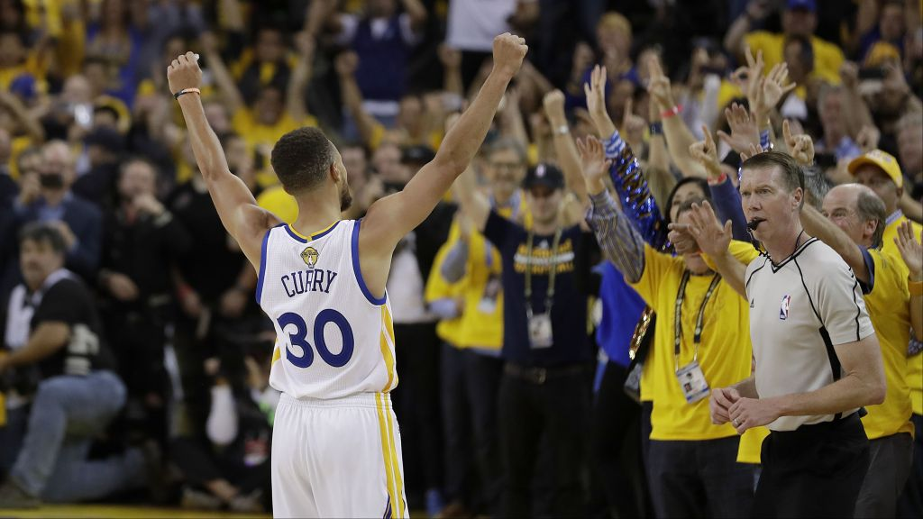 39ae55d3720 Golden State Warriors guard Stephen Curry (30) celebrates with fans after  Game 5 of