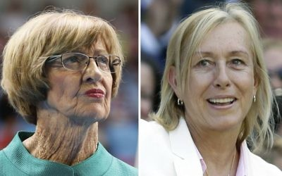 At left, in a Jan. 26, 2015, file photo, Australian tennis great Margaret Court looks on during the official launch of the remodeled Margaret Court Arena at the Australian Open tennis championship in Melbourne, Australia. At right, in a July 4, 2015, file photo, former Grand Slam champion Martina Navratilova watches from the royal box on Centre Court at the All England Lawn Tennis (AP/File)