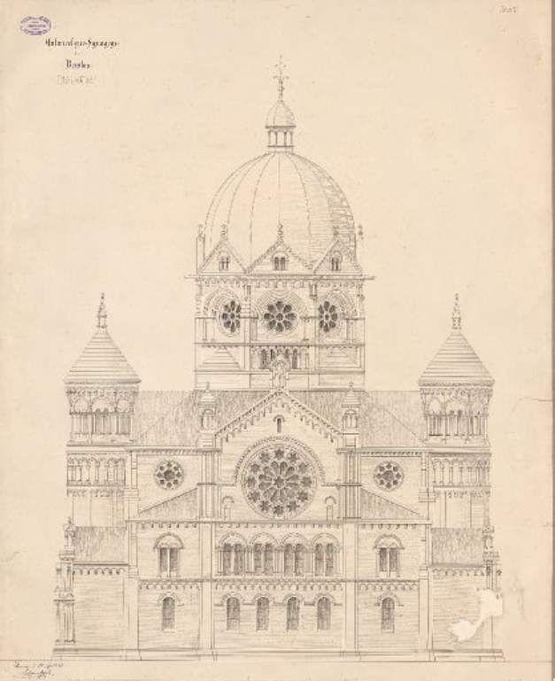 Drawing of New Synagogue of Wrocław in 1879. (Public domain, Wikimedia commons)