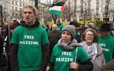Illustrative: Screenshot of BDS protesters in Paris, from the documentary 'Chosen and Excluded -- Jew Hatred in Europe.' (Courtesy)