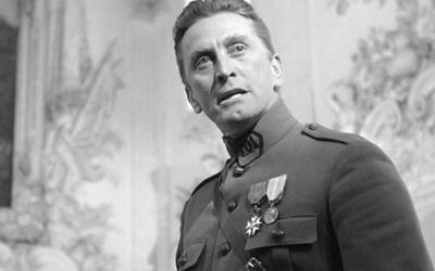 Kirk Douglas in Stanley Kubrick's masterpiece, Paths of Glory. The film, made in 1957, was banned in France until 1975. Due to its criticism of the conduct of French generals during the First World War, the French government even tried to prevent United Artists from distributing the film. (Screen capture)