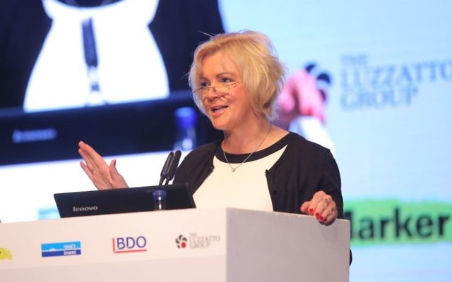 Louise Phelan, VP CEMEA, PayPal, speaks at Technovation conference in Tel Aviv (Courtesy Ofer Vaknin)