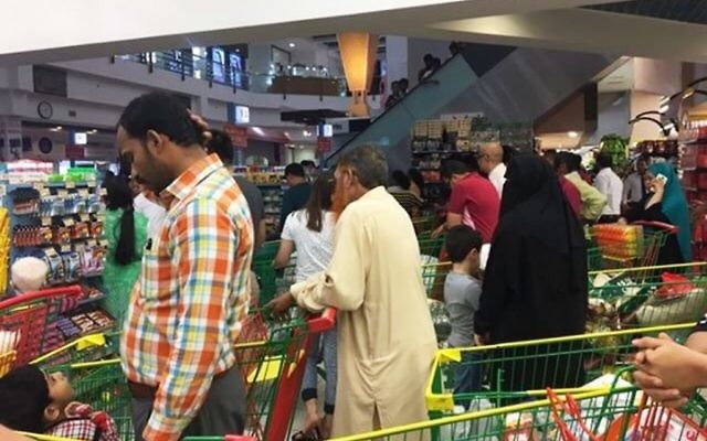 People are seen buying essential food staples at a supermarket in Doha, Qatar, June 5, 2017. (Twitter/ shalome05 via AP)