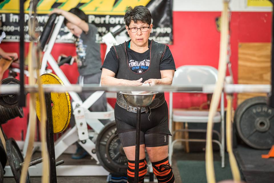 Rabbi Carolyn Braun getting ready to lift some weights at the March 11 competition at Dyna Maxx. (Dyna Maxx)