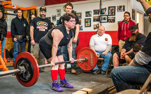 Rabbi Carolyn Braun powerlifting at the March 11 competition at Dyna Maxx gym in Portland, Maine. (Dyna Maxx)