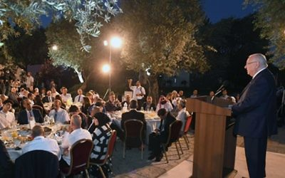 President Reuven Rivlin hosts Muslim leaders and foreign diplomats for an iftar meal to end the day of Ramadan fasting at the President's Residence in Jerusalem on June 12, 2017. (Mark Neiman/GPO)