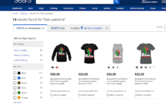 Screenshot T-shirts with the slogan 'Free Palestine' available for sale on the Sears website, June 6, 2017.  (Sears.com via JTA)