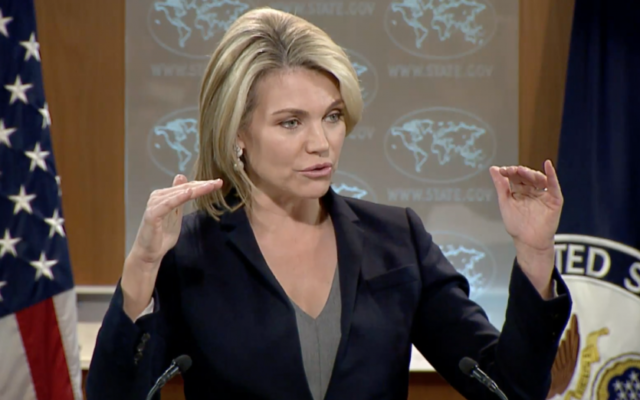 US State Department Spokeswoman Heather Nauert speaks to reporters during a press conference in Washington, D.C. on June 6, 2017 (screen capture)