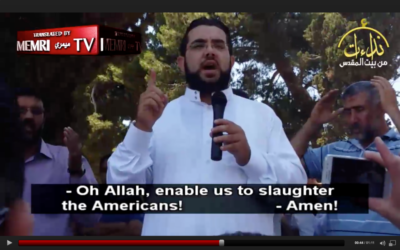 Sheikh Nidhal Siam preaches at the al-Aqsa Mosque in Jerusalem's Old City, in a clip published on YouTube and subsequently translated by the Middle East Media Research Institute. (MEMRI)