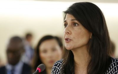 United States Ambassador to the United Nations Nikki Haley speaks at the opening of the 35th session of the Human Rights Council, at the European headquarters of the United Nations in Geneva, Switzerland, June 6, 2017. (Magali Girardin/Keystone via AP)