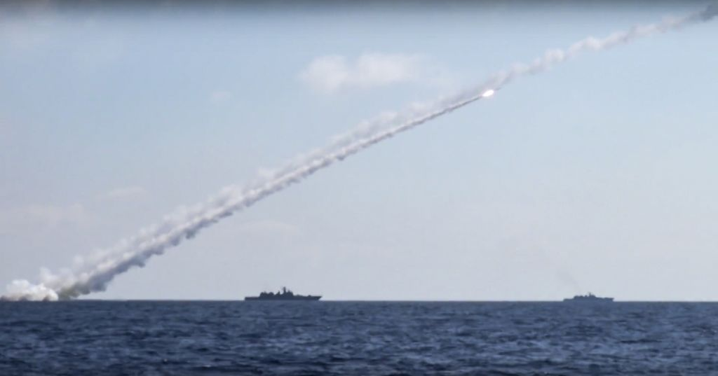 In this image released on Friday, June 23, 2017, long-range Kalibr cruise missiles are launched by a Russian Navy ship in the eastern Mediterranean. Russia's Defense Ministry said it fired cruise missiles from the Mediterranean Sea on positions of the Islamic State in Syria. (Russian Defense Ministry Press Service via AP)