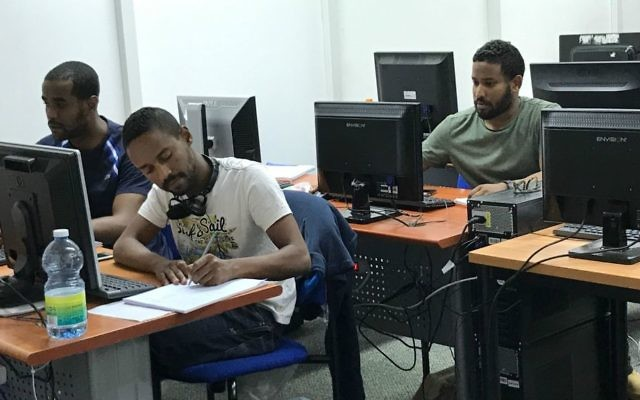 Tech-Career students hard at work (Shoshanna Solomon/TimesofIsrael)