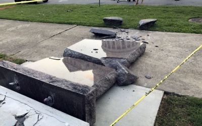 The smashed Ten Commandments monument outside the state Capitol in Little Rock, Ark., is blocked off  June 28, 2017. (AP Photo/Jill Zeman Bleed)