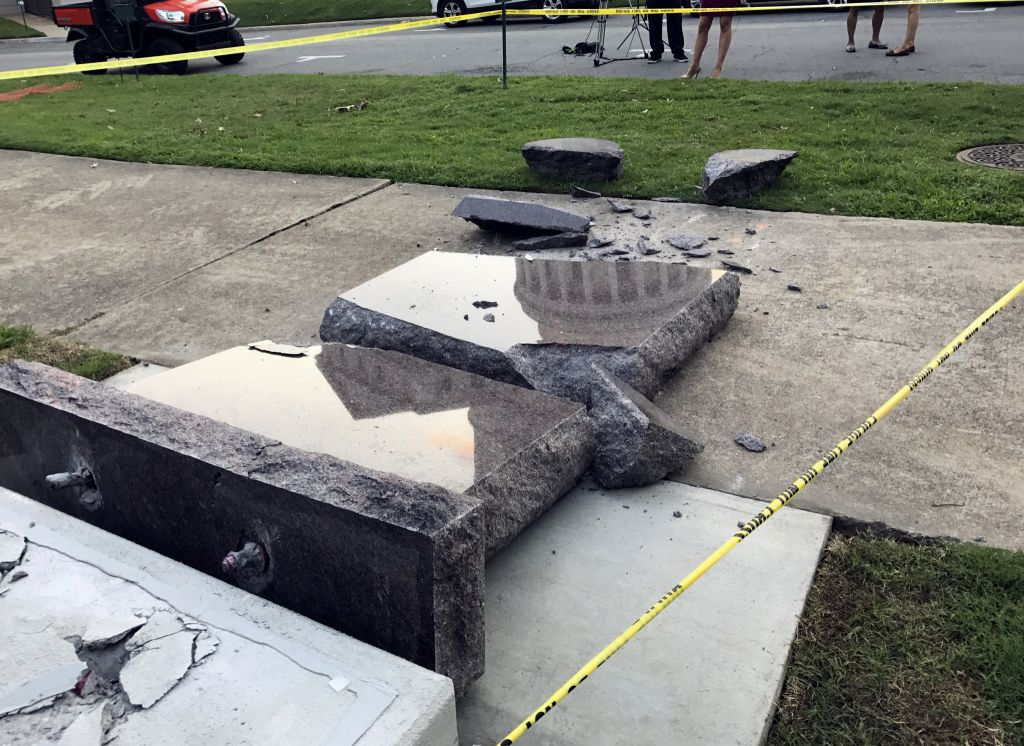 6560ac2b9c86 The smashed Ten Commandments monument outside the state Capitol in Little  Rock