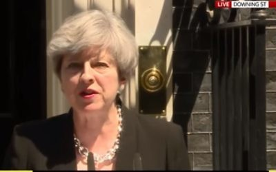 UK Prime Minister Theresa May makes a statement on the London mosque terror attack outside number 10 Downing Street, June 19, 2017. (Screen capture: YouTube)