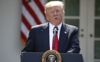 US President Donald Trump speaks about the US role in the Paris climate change accord, Thursday, June 1, 2017, in the Rose Garden of the White House in Washington. (AP Photo/Pablo Martinez Monsivais)