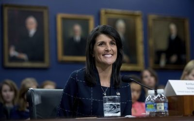 US Ambassador to the UN Nikki Haley testifying at the House State, Foreign Operations, and Related Programs subcommittee, June 27, 2017. (AP Photo/Andrew Harnik)