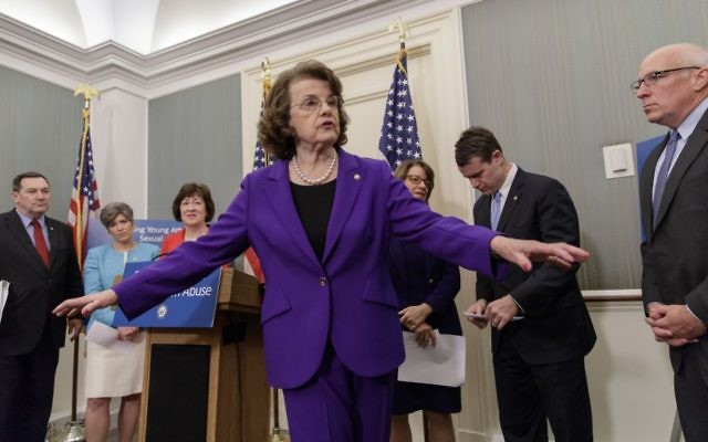 Sen. Dianne Feinstein ranking member on the Senate Judiciary Committee, center, during a news conference on Capitol Hill in Washington, D.C. on March 28, 2017. (AP Photo/J. Scott Applewhite)