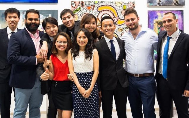 Participants in the IAC's 2016-17 Israel-Asia Leaders Fellowship program enjoy a May 21 reception in Tel Aviv. (Maya Hadash/IAC)