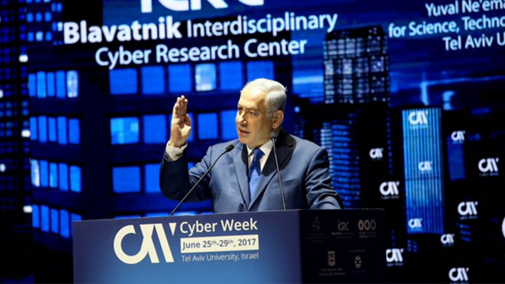 Prime Minister Benjamin Netanyahu speaks at Cyber Week in Tel Aviv, June 26, 2017. (Courtesy/Chen Galili)