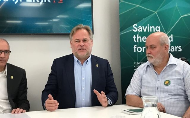 Eugene Kaspersky and other officials at inauguration of Jerusalem office and R&D center. (Shoshanna Solomon/Times of Israel)